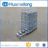 3 Seiten-mittlere Aufgaben-zusammenklappbare Stahldraht-Rollenladeplatten-Behälter