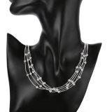 Halsband Vijf van de Rij van Mutil van de manier Halsband van de Juwelen van de Ketting van Parels de Echte Zilveren Geplateerde