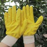 Польностью желтым покрынная нитрилом перчатка работы трудной руки перчаток садовничая
