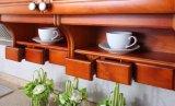 白いカラー様式の純木の食器棚(zq-009)