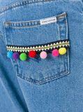 Bobbles Décoré Blue Cropped Flared Women Jeans Denim
