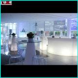 Mesa iluminada com tampo de vidro