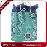 Sacs blancs simples floraux de cadeau de papier d'emballage de Serenade de ressort argenté de clients avec le traitement Twisted