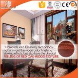 3D Roble Rojo Acabado de Grano de madera Color de madera Rotura térmica Ventana de inclinación y giro de aluminio, Ventana de aluminio y madera