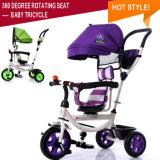 Triciclo de giro do bebê do triciclo de crianças da roda do assento três com dossel