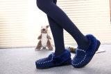 Chaussures occasionnelles de femmes de mode de basane dans le bleu pour l'hiver/automne