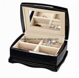 Caisse d'emballage en bois de cadeau de bijou de fini noir de piano