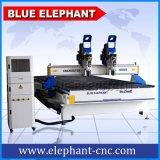 Máquina de gravura separada do CNC 3D das cabeças 2055 do dobro, máquina do router do CNC do Woodworking de 3 linhas centrais