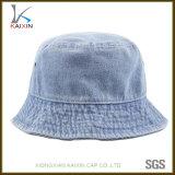 習慣はブラシをかけられた綿のデニムのバケツの帽子を洗浄した
