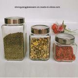 Do frasco de vidro do armazenamento do chá do recipiente de alimento do frasco do armazenamento do alimento do produto comestível 3PCS frasco de vidro com tampa do metal