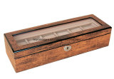Antique Brown Finition brillante regarder Boîte de collecte de bois