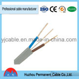 PVC изолировал обшитый PVC кабель медного сердечника плоский от Китая (BVVB+E)