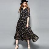 نمط خاصّ بالأزهار توهّج سهم سطحي كم نساء ثوب [مإكسي] مع حزام سير