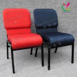 Venda por grosso de empilhamento empilháveis tecido azul metálico de ferro de aço cadeira da Igreja para o Auditório e oração com Kneeler (YC-G38)