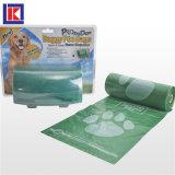 관례는 롤에 있는 HDPE/LDPE 생물 분해성 애완 동물 낭비 부대를 인쇄했다