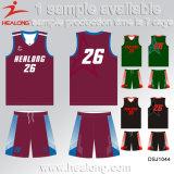 Plein uniforme de basket-ball du Jersey de basket-ball d'Anti-Ride de sublimation de Healong