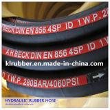 Mangueira de borracha hidráulica trançada em aço trançado R1002at / 2sn