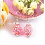El verano de la moda de Joyería de pendientes de cristal de color rosa con aleación de zinc con Envrionmental chapado en oro de amistad (PE-026)