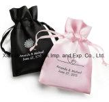 Индивидуальные пользовательские печати малый черный атласный свадьбы пользу сумки