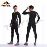 Gli uomini personalizzano il vestito stretto di sport dei pantaloni di Legging delle parti superiori del Lungo-Manicotto