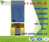 """4.3 """" alta visualizzazione a piena vista dell'affissione a cristalli liquidi di luminosità 400CD/M2 TFT di IPS 480X800 RGB 50pin"""