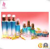 Crema blu di pendenza del poligono elegante/contenitore di vetro della lozione con la protezione tagliata
