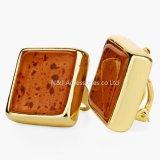 Oorringen van de Nagel van de manier de Goud Geplateerde voor Juwelen van de Steen van Vrouwen de Oranje