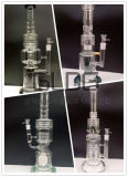 Gldg 가장 새로운 디자인 16 인치 - 2개의 눈 손잡이를 가진 키 큰 원뿔 물뿌리개 Perc 유리제 연기가 나는 관