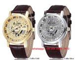 Het modieuze Horloge van de Beweging van het Kwarts met de Band van het Leer Gunine voor Unisex-Fs494