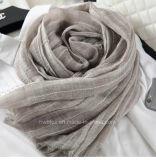 Écharpe de vente/châle rayés tissés par coton de toile mou chaud (HWBLC06)