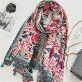 Rétro colorés s'épanouir imprimé de polyester femmes foulard avec des glands (HP01)