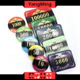 Chipset de primeira qualidade do póquer da coroa/chipset acrílico plástico feito sob encomenda do casino com caso de alumínio Ym-Scma003