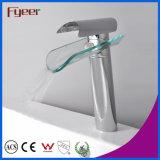 Fyeer High Body Single Handle Robinet de verre Waterfall Robinet de lavabo chromé Robinet mélangeur d'eau