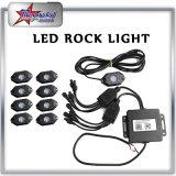 4/6/8/12 lumière tous terrains de roche de Bluetooth de couleur du nécessaire RVB de lumière de roche des cosses DEL de contrôle de l'instantané changeable DEL de musique