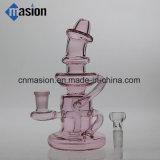Conduite d'eau en verre de couleur de pipe rose de recycleur (ZY011)