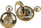 Abertura dupla mão mecânica Tom Ouro relógios de bolso do vento