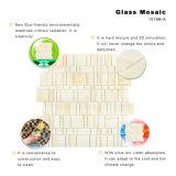 La pared clásica del cuarto de baño del diseño embaldosa el mosaico amarillento del vidrio manchado