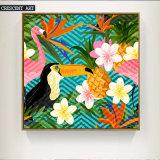 Het moderne Af:drukken van het Canvas van Bloemen en Vogels