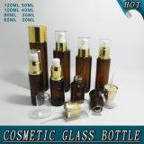 Bouteille ambre en gros de lotion de corps en verre avec la pompe