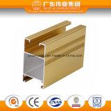 Profilo di alluminio dell'espulsione del grano di legno giallo di colore per il portello e la finestra