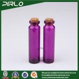 木のコルクの多彩なTranslucidの空のガラスコルクのびんが付いている5ml 10ml 20mlの紫色の黄色く青いカラーガラスビン