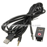 Car Dash Flush Mount 3.5mm Aux & USB Macho 3 RCA Extension Cable Lead Socket 1.5m