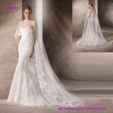 Vestido de casamento bonito da sereia com o Tulle bordado maravilhoso