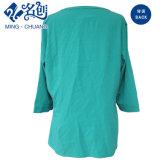 Vert Long-Sleeve lâche V-Neck Fashion Mesdames chemisier de loisirs