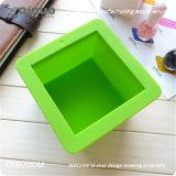 Único bolo Handmade verde do cozimento do silicone do sabão FDA para o queque