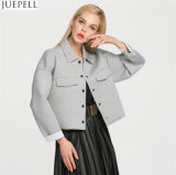 Европе женщин моды слабо раздел для хлопка серого цвета пиджак нанесите на заводе в Китае Гуанчжоу OEM логотип заказчика