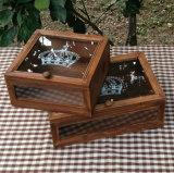Ancienne couleur boîte cadeau en bois de pin avec le Haut Couvercle en verre pour bijoux