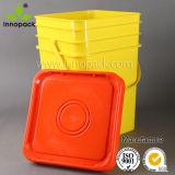 Grad-rechteckiger Plastikkasten der Nahrung20l mit Kappen-und Griff-buntem quadratischem Eimer