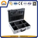 Silberner gestreifter Aluminiumaktenkoffer-Hilfsmittel-Kasten (HT-1052)