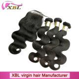 Человеческого волоса добавочный номер класса 8A бразильского Virgin волосы с кружевной закрытия